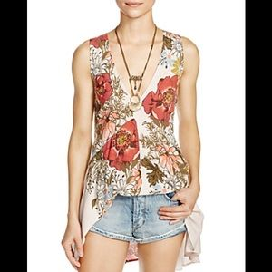 Free People Backyard Floral Print Top